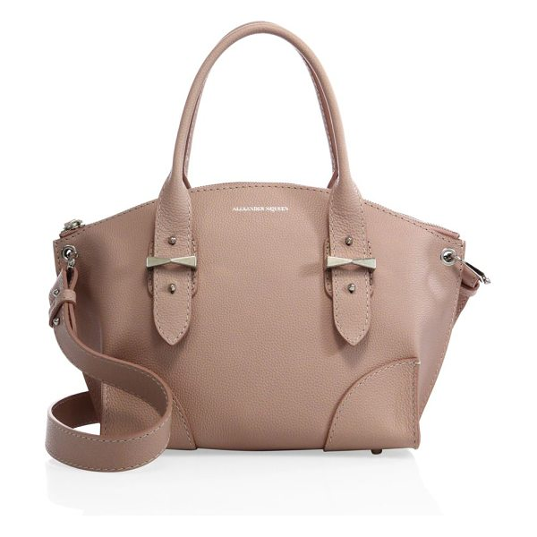 Alexander McQueen Legend small pebbled leather zip satchel in blush - Sleek, timeless silhouette in soft pebbled leatherDouble...