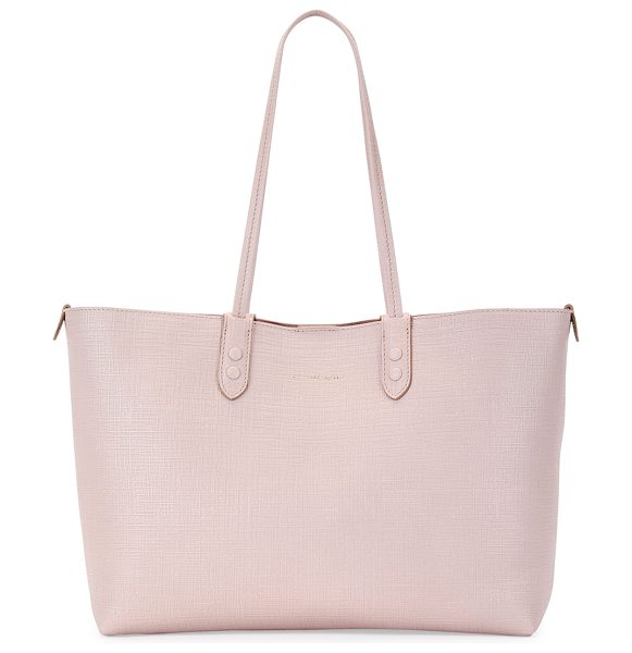 Alexander McQueen Lino Small Embossed Leather Tote Bag in nude - Alexander McQueen medium tote bag in linen-embossed calf...