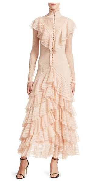 Alexander McQueen long sleeve ruffle dress in cowrie nude - This beautiful silk gown offers artful ruffle details...