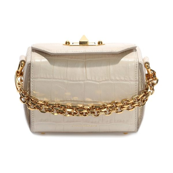 Alexander McQueen mini box croc-embossed leather bag in white bone - A compact, croc-embossed bag inspired by the structured...