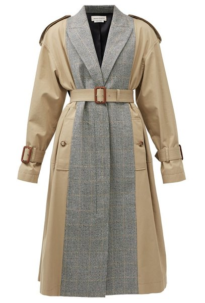 Alexander McQueen checked wool-blend and cotton trench coat in beige multi