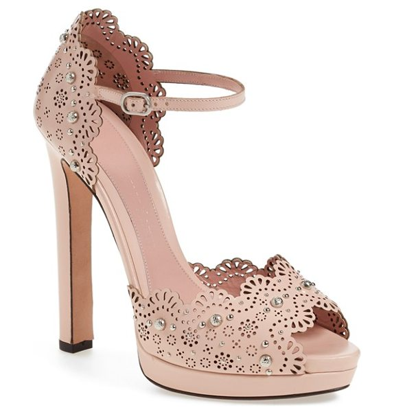 Alexander McQueen peep toe platform sandal in beige leather - Polished studs and dainty floral cutouts add feminine...