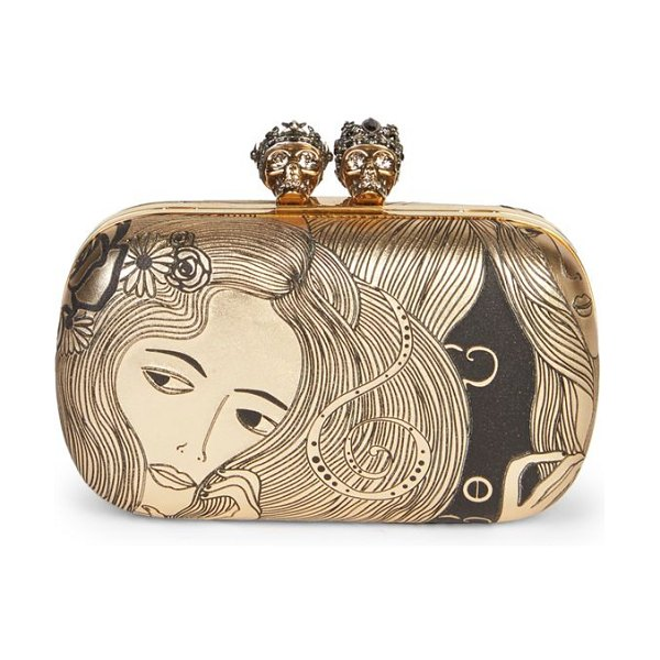 Alexander McQueen queen & king leather clutch in gold - Printed leather clutch adorned with Swarovski crystals....