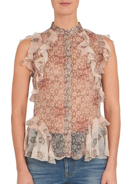 Alexander McQueen Ruffled silk floral-print blouse in pink-brown - Ruffled silk blouse in semi-sheer floral printStand...
