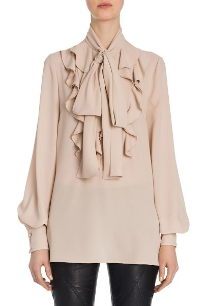 Alexander McQueen ruffled silk georgette tie-neck blouse in plaster pink - Cascading ruffles and neck tie define romantic blouse....
