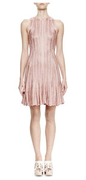 Alexander McQueen Sleeveless Fit-&-Flare Dress in rose gold - Alexander McQueen metallic jacquard knit dress. Approx....