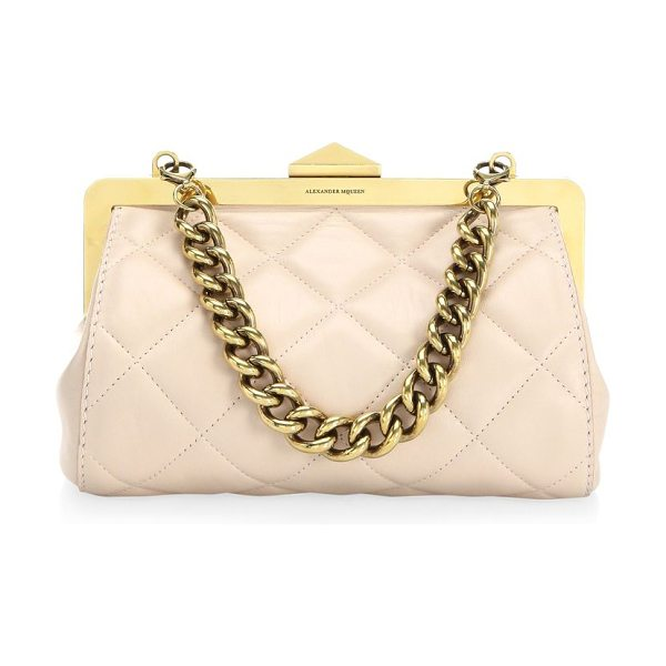 ALEXANDER MCQUEEN small frame quilted leather bag - Quilted purse with heavy curb chain handle. Top handle....