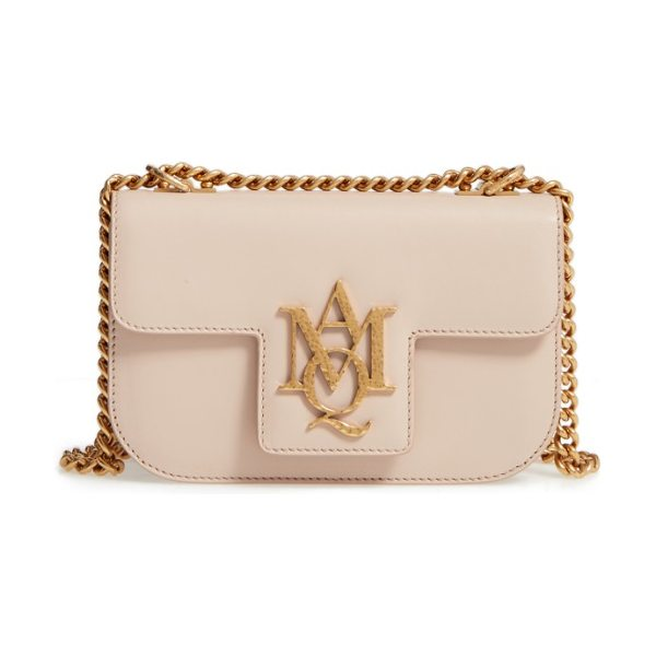 Alexander McQueen small insignia calfskin leather crossbody bag in spitafield pink - A golden monogrammed insignia makes an iconic mark on a...