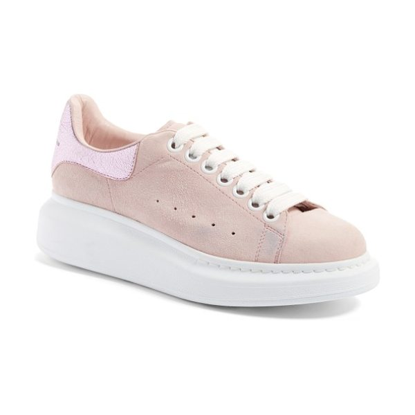 Alexander McQueen sneaker in clover/ pale pink - A tall rubber platform lofts a lace-up sneaker from...