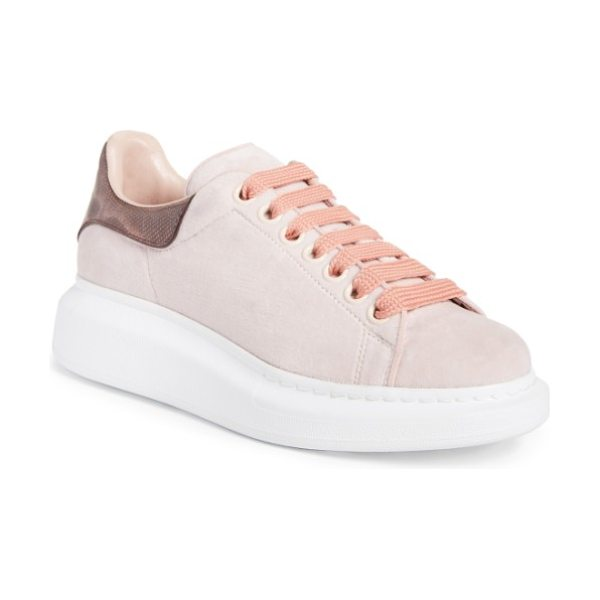 Alexander McQueen sneaker in light pink velvet - A tall rubber platform lofts a lace-up sneaker from...