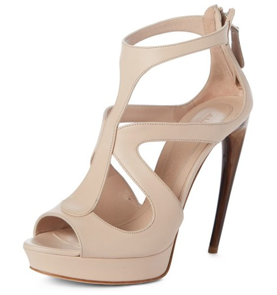 Alexander McQueen suede cage sandal in beige leather