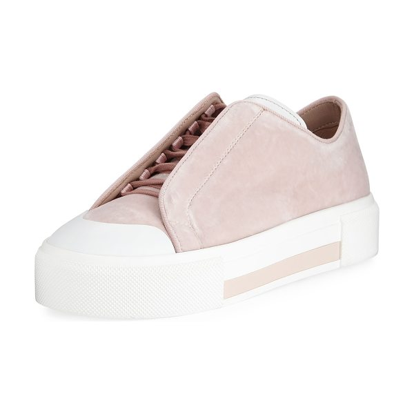 Alexander McQueen Suede Concealed Lace-Up Low-Top Platform Sneaker in rose/ivory - Alexander McQueen suede sneaker with smooth leather...