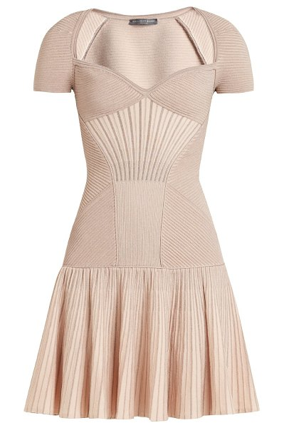 Alexander McQueen sweetheart neck short sleeved wool blend dress in pink - Alexander McQueen - The metallic antique-pink hue of...