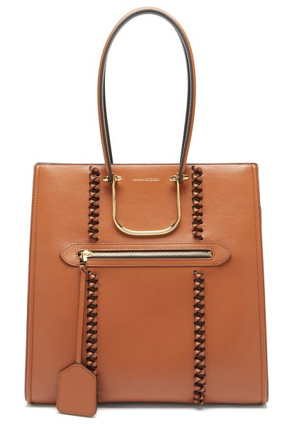 Alexander McQueen the tall story whipstitched leather tote bag in tan