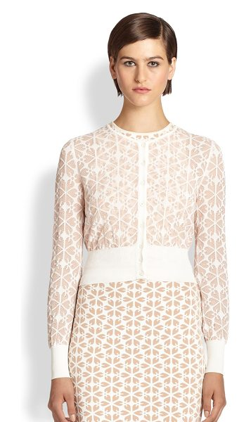 Alexander McQueen Transparent jacquard cardigan in nudewhite - An intricate floral jacquard adds dimension to this...