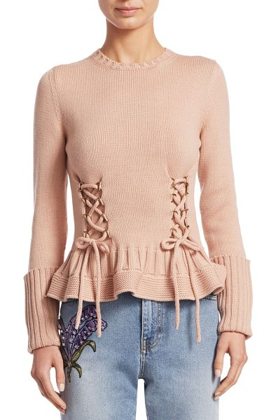 Alexander McQueen wool lace-up sweater in pink plaster - Wool knit sweater with lace-up detailing. Crewneck. Long...