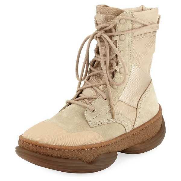 Alexander Wang A1 Mixed Tall Combat Boots in sand