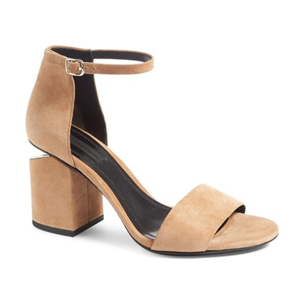 ALEXANDER WANG 'abby' ankle strap sandal in clay - Gilt hardware highlights the notched heel of an...