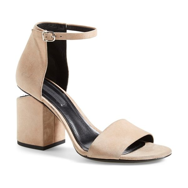 ALEXANDER WANG abby ankle strap sandal in sand soft suede - Gilt hardware highlights the notched heel of an...