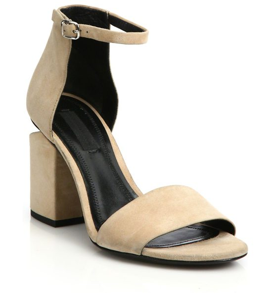 Alexander Wang abby tilt-heel suede sandals in brown - Tilt-effect plated heel lifts minimalist suede sandal....