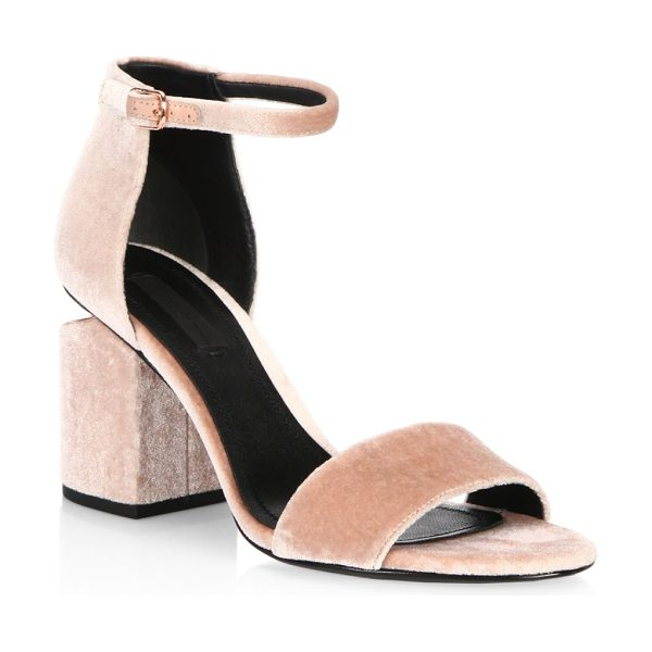 Alexander Wang abby velvet ankle strap sandals in blush - Cutout heel with metal accents defines these sandals....