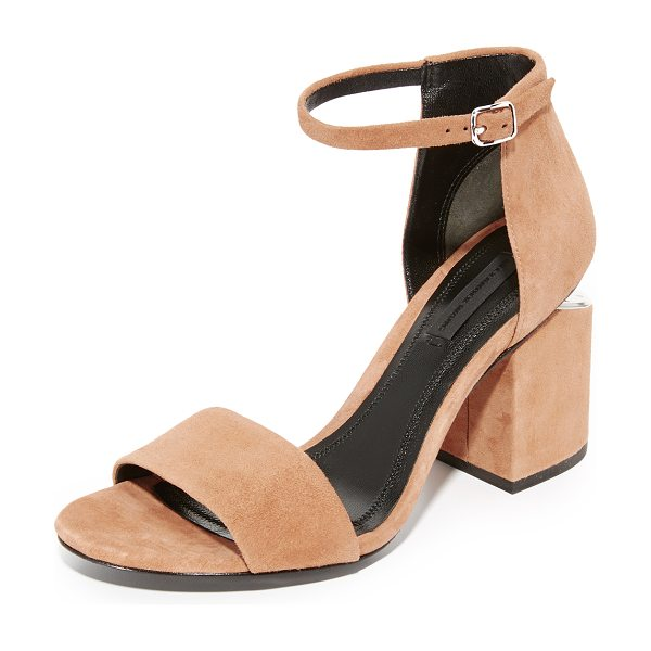 Alexander Wang abby sandals in clay/rhodium - Metallic hardware puts a sleek finish on these smooth...