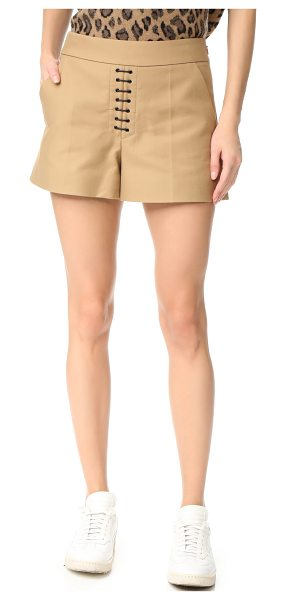 Alexander Wang safari shorts with lacing in safari - Waxed laces accent the front of these crisp,...
