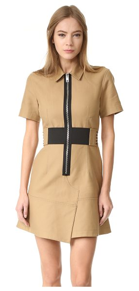 Alexander Wang short sleeve safari dress with lacing in safari - A crisp Alexander Wang mini dress with edgy, utilitarian...