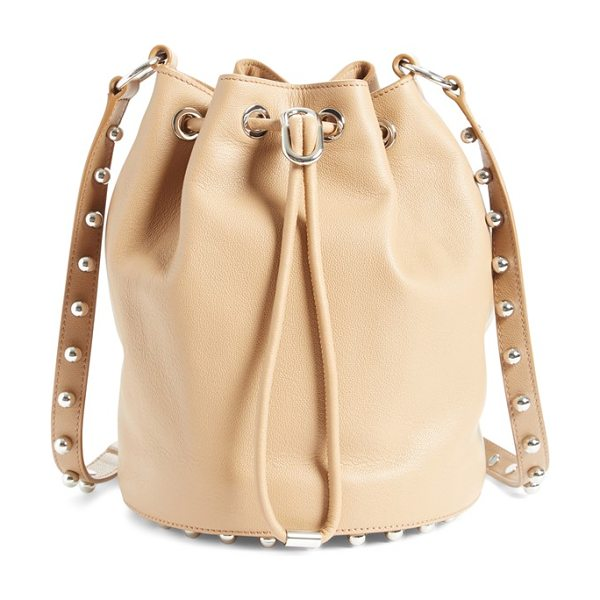 Alexander Wang 'alpha' leather bucket bag in light nude - A swath of rosegold studs underscores the modern...
