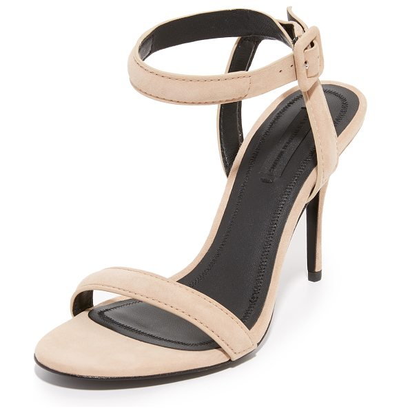 Alexander Wang antonia sandals in truffle - Velvety suede and slim, padded straps give modern...