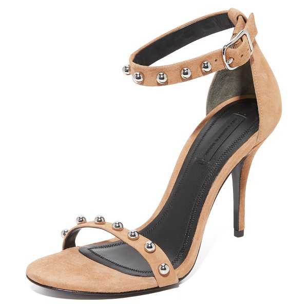 ALEXANDER WANG antonia studded sandals in clay - Rounded studs accent the slim straps on these velvety...