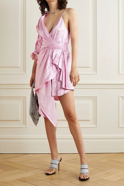 Alexander Wang asymmetric layered gathered crinkled-satin dress in baby pink