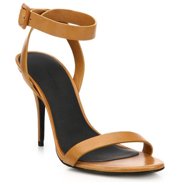 "Alexander Wang Atalya leather sandals in natural - Sleek strap design in rich leatherSelf-covered heel, 4""..."