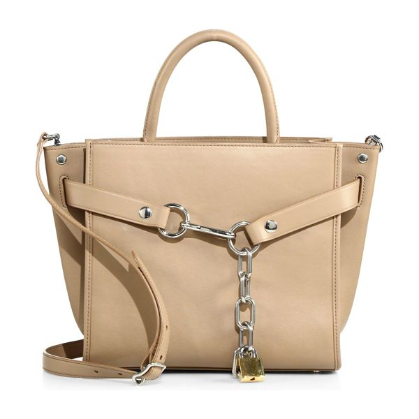 Alexander Wang attica chain leather satchel in light nude