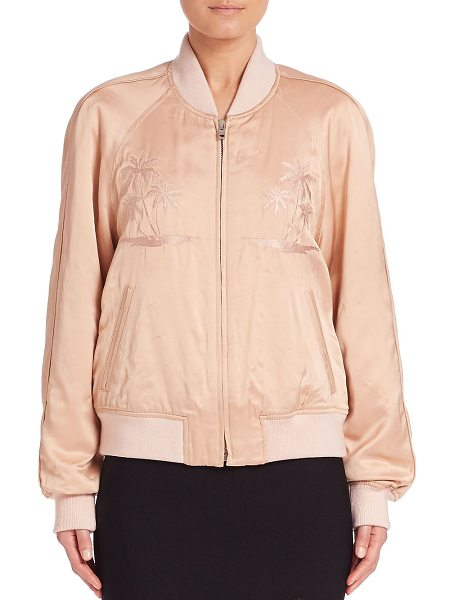 Alexander Wang california embroidered bomber jacket in blush - Tropical prints render a cool, laid-back style. Baseball...
