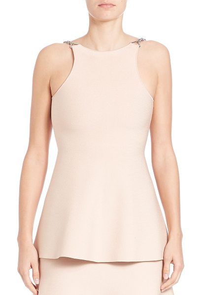 Alexander Wang chain-detail peplum tank top in blush - Knit peplum tank finished with chain straps. Bateau...