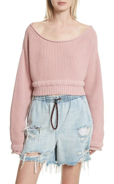 ALEXANDER WANG chunky boatneck crop sweater - Chunky trim adds puffed-up volume around the waist and...
