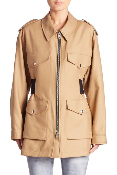ALEXANDER WANG cotton parka jacket - Elasticized belt with laced detail cinches cotton parka....