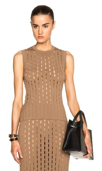 Alexander Wang Crew neck intarisa split stripe tank in brown - Viscose blend.  Made in Italy.  Knit fabric.  Cut out...