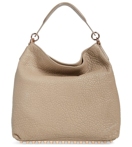 Alexander Wang Darcy lambskin leather tote in latte/ rose gold - Grainy lambskin leather makes a lavish statement on a...