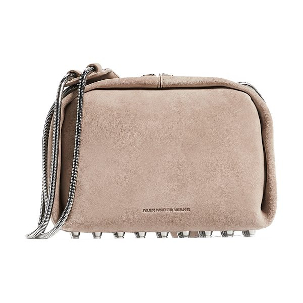 Alexander Wang dumbo soft cross body bag in sable - Fabric: Suede Leather: Cowhide Silver-tone details...