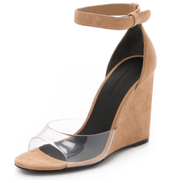 ALEXANDER WANG Erika suede wedge sandals in sandstorm - Rich suede and transparent rubber make an unexpected...