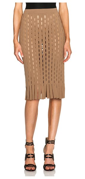 Alexander Wang Fitted pencil skirt with intarsia split stripe in brown - Self: 73% rayon 27% nylon - Lining: 100% rayon.  Made in...