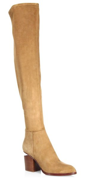 Alexander Wang gabi thigh high stretch suede boots in dark truffle - Suede thigh high boots with a stacked heel. Stacked...