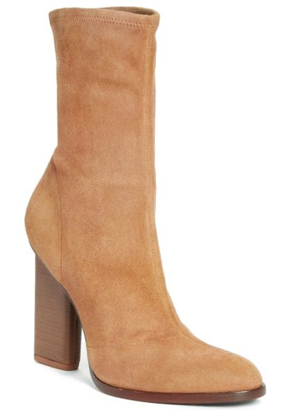 Alexander Wang 'gia' boot in dark truffle suede - An inset stacked heel maintains the streamlined...