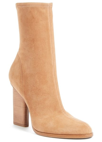 Alexander Wang gia stretch boot in nude - An inset stacked heel maintains the streamlined...