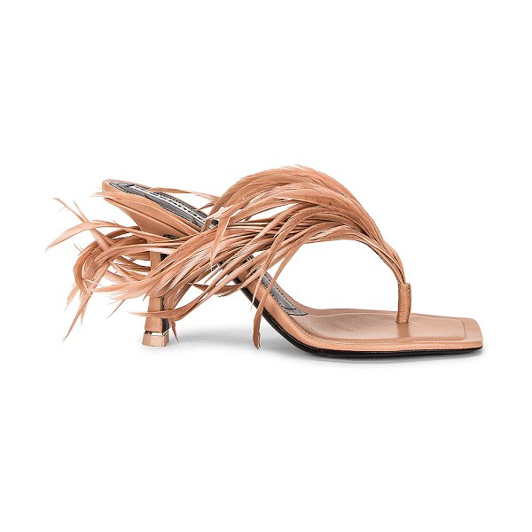 Alexander Wang ivy 85 feather sandal in sandstone