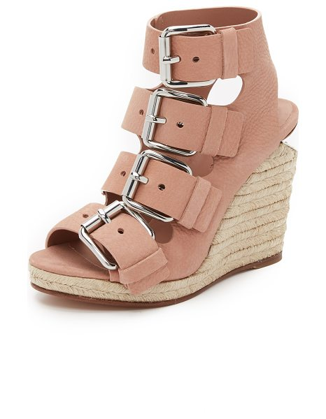ALEXANDER WANG Jo buckle wedge sandals in blush - Polished buckles complement the metallic plate at the...