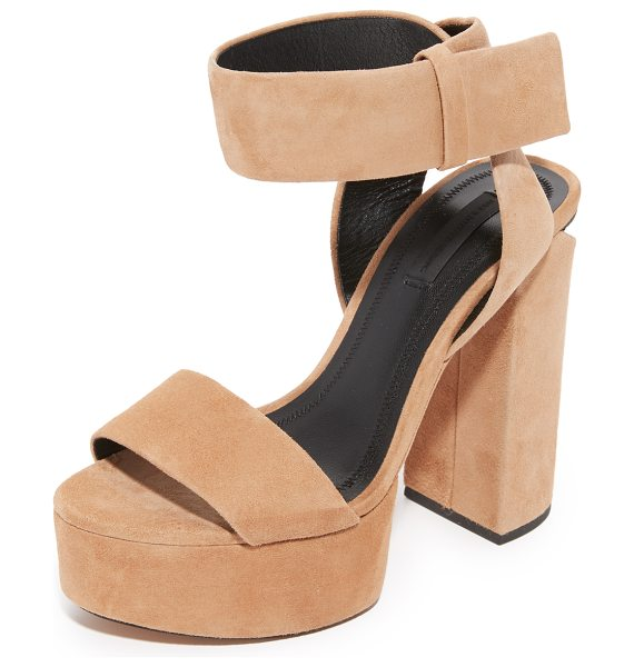 Alexander Wang keke platform sandals in clay/rhodium - A metal plate accents the sliced heel of these suede...