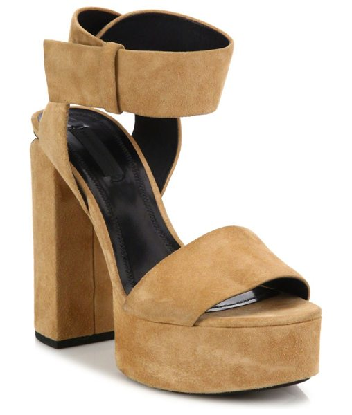 Alexander Wang keke suede tilt-heel platform sandals in clay - Block heel and platform elevate suede ankle-strap...
